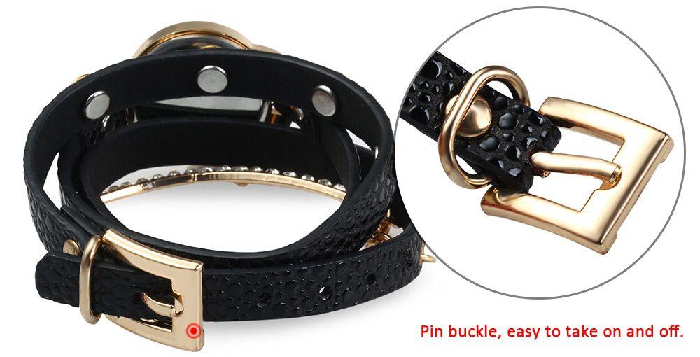 Vintage Leopard Leather Wrap Bracelet Wrist Women Watch with Heart Pendant Rhinestone