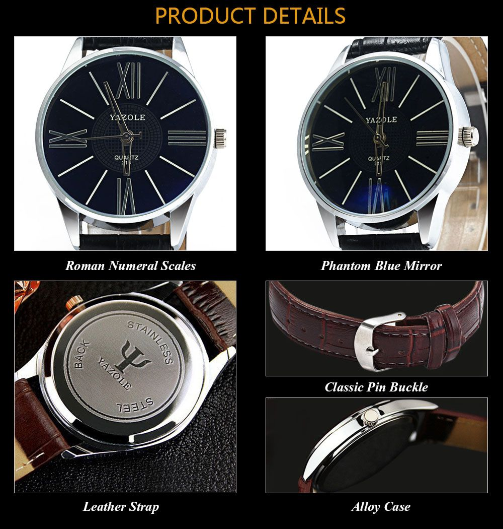Yazole 315 Quartz Watch with Leather Band for Men