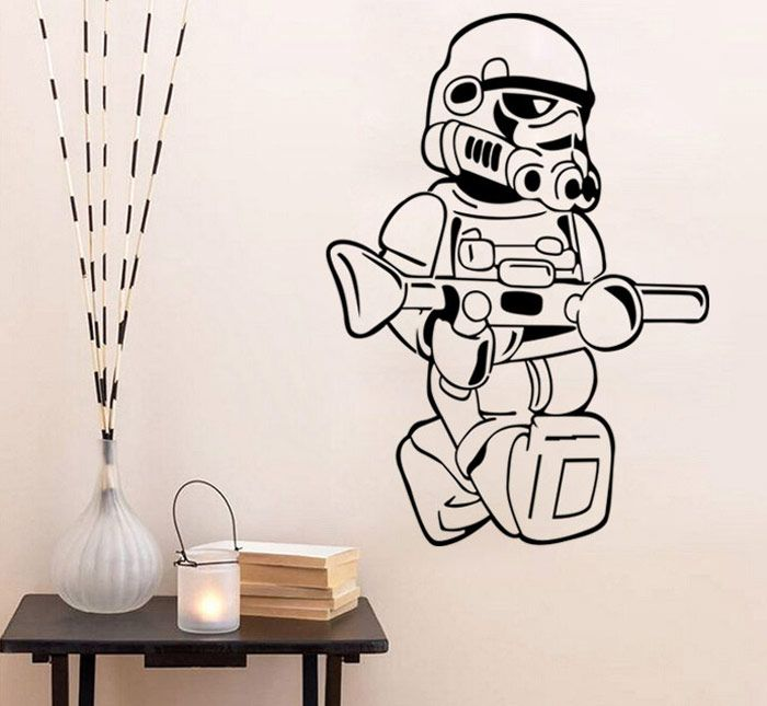 w-21 Stormtrooper Logo Style Removable Wall Sticker Water Resistant Home Art Decals