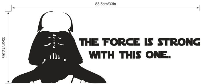 w-2  Darth Vader Alphabet Style Removable Wall Sticker Water Resistant Home Art Decals