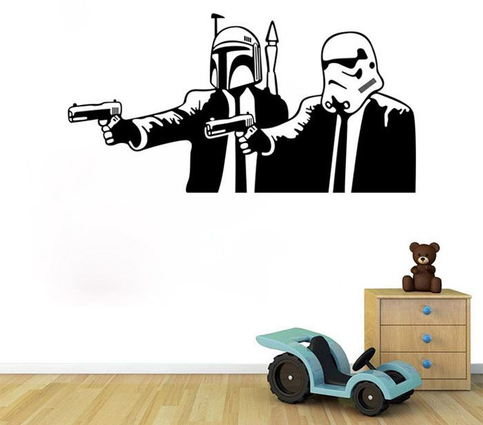 w-10 Meets Pulp Fiction Style Removable Wall Sticker Water Resistant Home Art Decals