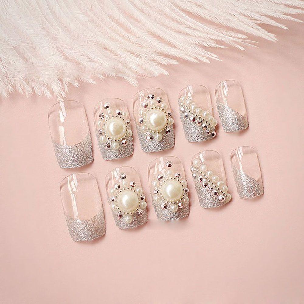 Trendy Pearl Flicker Acrylic Elegant Crystal Bride Wedding Artificial Nail