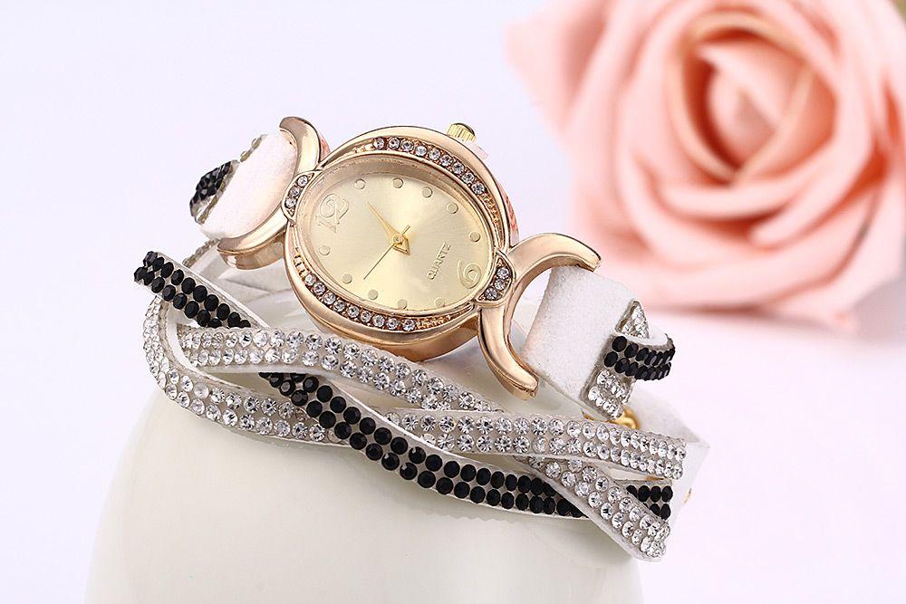 Women Bracelet Quartz Wrist Watch Rhinestone Chain