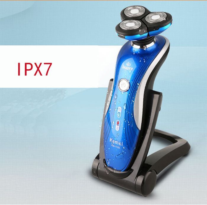 KM-1150 4D Triple Blade Rechargeable Electric Shaver IPX7 Waterproof Nose Hair Trimmer