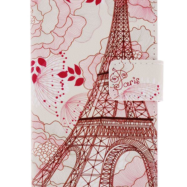 Kinston Flower Tower Pattern PU and PC Material Protective Cover Case with Stand and Card Holder for iPhone 6 - 4.7 inch