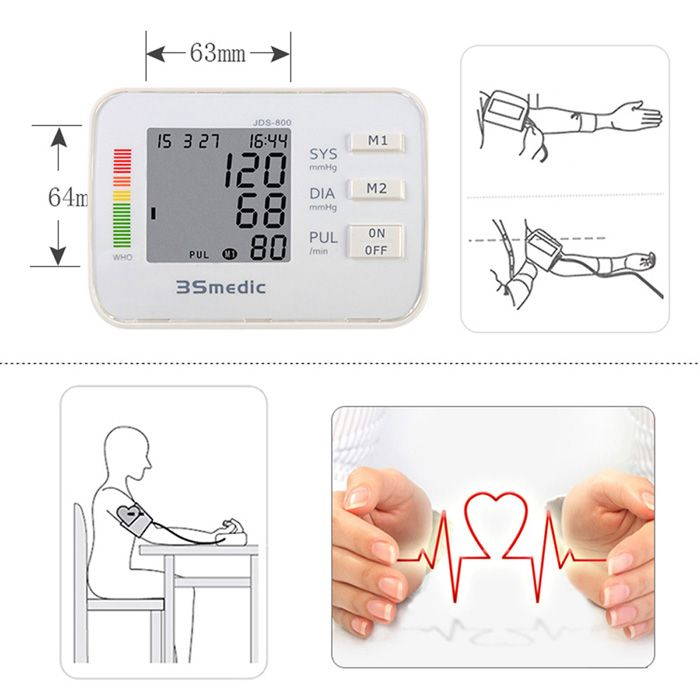 JDS-800 Digital Sphygmomanometer Arm Blood Pressure Pulse Monitor for Home Office