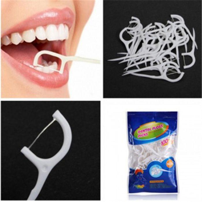 100PCS TS-BM823 Practical Dental Floss Stick for Home