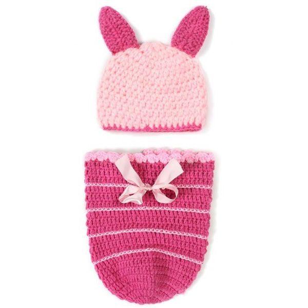 Fashion Handmade Crochet Knitted Rabbit Shape Hat Sleeping Bag Set Baby Clothes