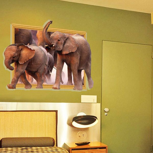Creative Removable Waterproof Elephants Pattern 3D Wall Stickers For Living Room Bedroom Decoration