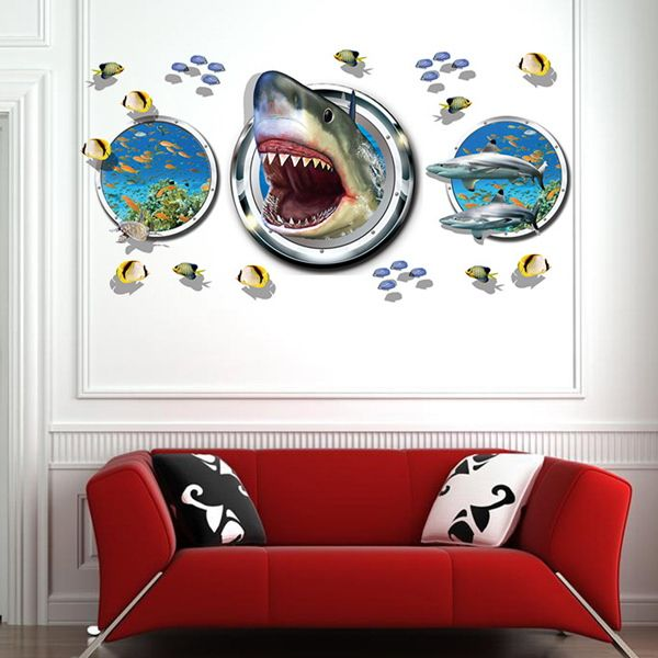 Stylish Underwater World Pattern 3D Wall Stickers For Living Room Bedroom Decoration