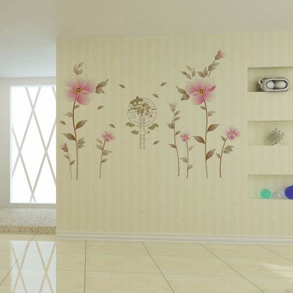 Creative Waterproof Flowers Pattern Wall Stickers For Living Room Bedroom Decoration