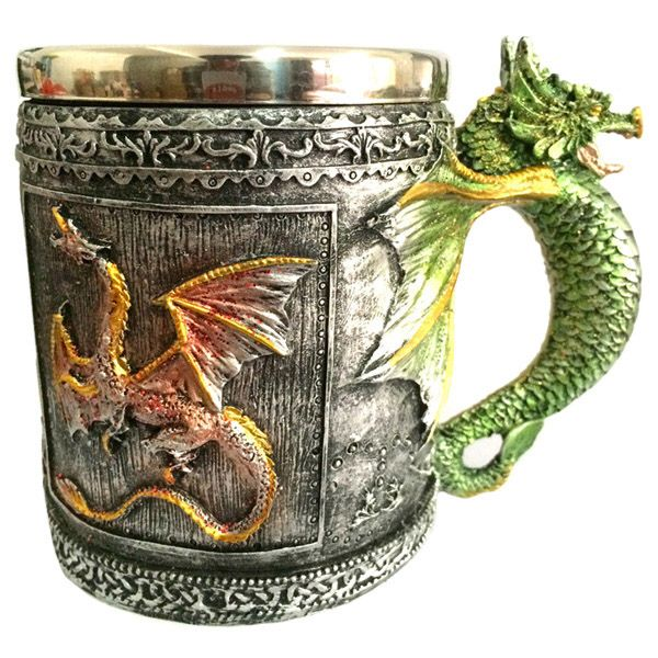 350ML Retro Style Office Drinking Cup Dragon Embellished Stainless Steel Mug