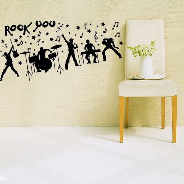 Rock Band Silhouette Musical Wall Art Stickers For Bedrooms