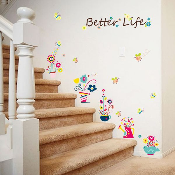 Fashion Cartoon Bee and Bonsai Pattern Wall Sticker For Bedroom Livingroom Decoration