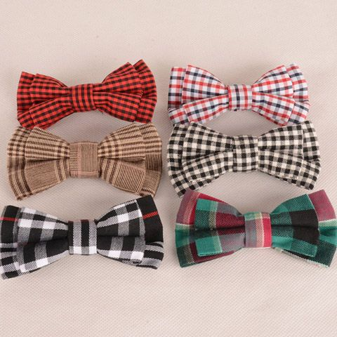Stylish Tartan Pattern Black and White Double-Deck Bow Tie For Men