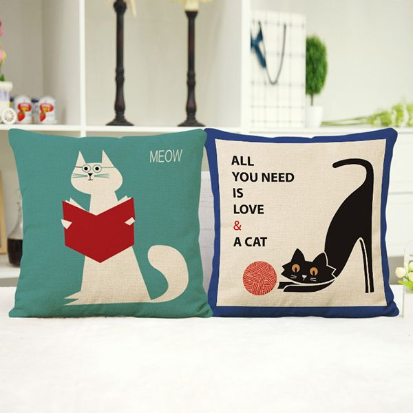 Fashion Cartoon Reading Kitten Pattern Square Shape Flax Pillowcase (Without Pillow Inner)