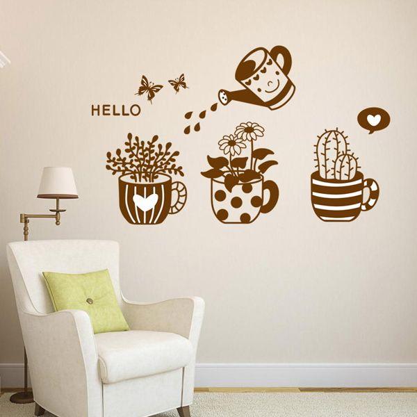 Chic Plants Bonsai Pattern Wall Sticker For Bedroom Livingroom Decoration