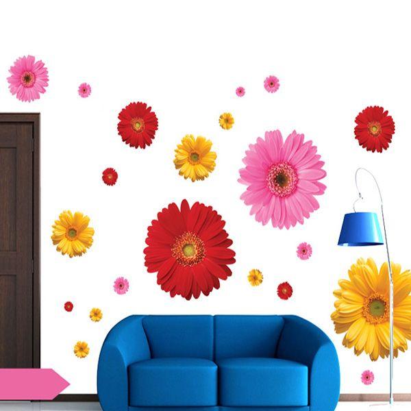 Chic Daisy Pattern Wall Sticker For Bedroom Livingroom Decoration