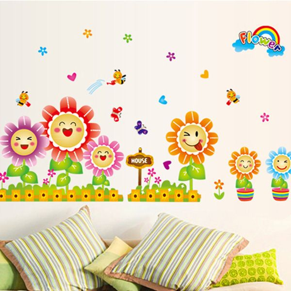 Chic Smiling Sunflowers Pattern Wall Sticker For Bedroom Livingroom Decoration