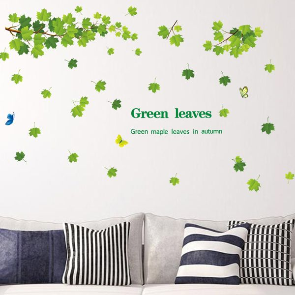 Chic Green Leaves Pattern Wall Sticker For Bedroom Livingroom Decoration