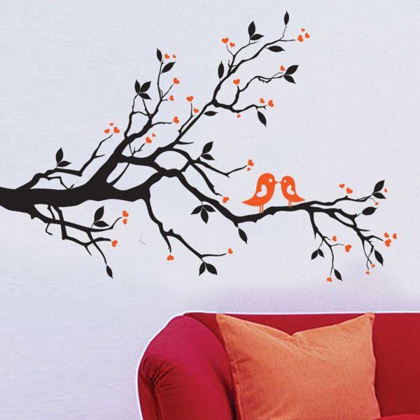 Chic Tree Branch Bird Pattern Wall Sticker For Bedroom Livingroom Decoration