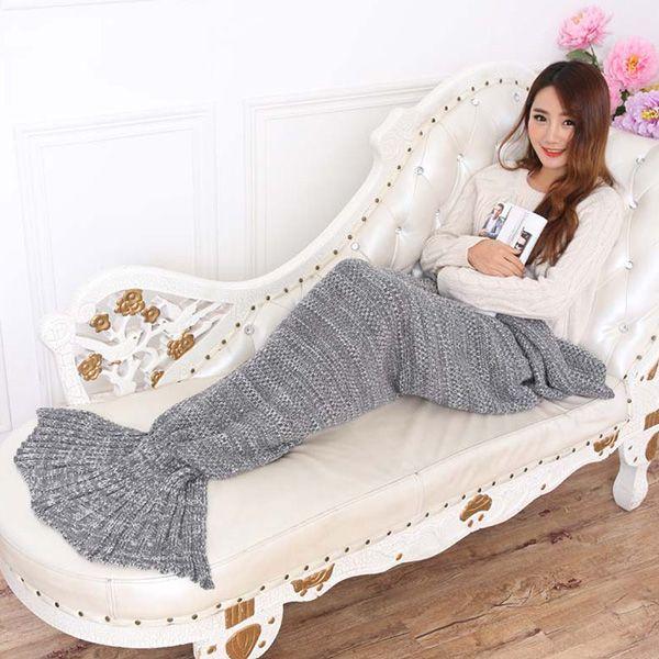 Fashion Summer Nap Fish Tail Shape Mermaid Design Knitting Blanket