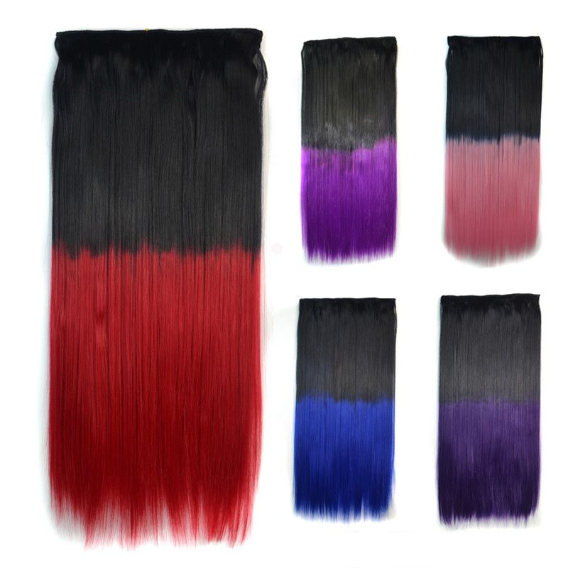 Fashion Long Silky Straight Ombre Color Clip In Capless Hair Extension For Women