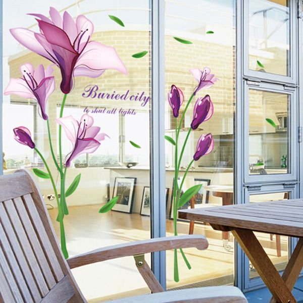 Elegant DIY Purple Mangnolia and Letters Pattern Wall Stickers For Home Decor