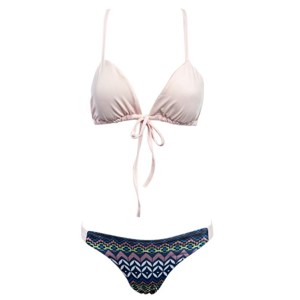 Spaghetti Strap Macrame Back Printed Bikini Set