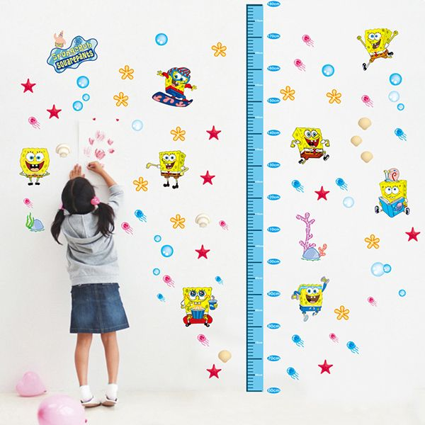 Stylish DIY Spongebob Pattern and Height Measurement Wall Stickers For Children