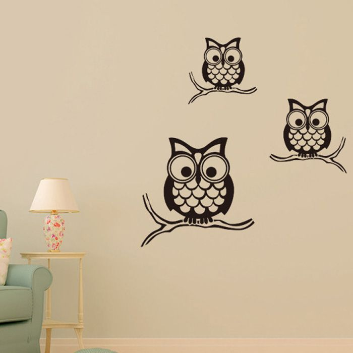 Fashion Night Owl Pattern Wall Sticker For Livingroom Bedroom Decoration