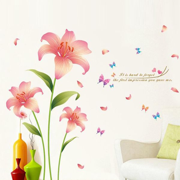 Fashion Pink Lilium Pattern Wall Sticker For Livingroom Bedroom Decoration