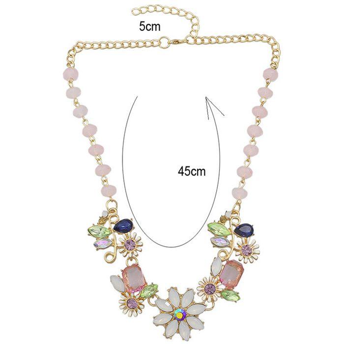 Coloful Rhinestoned Flowers Pendants Necklace