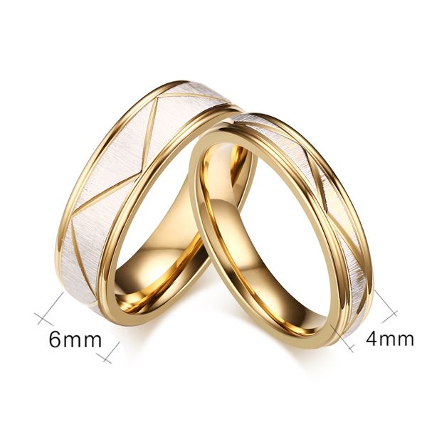 Pair of Alloy Engraved Lines Rings For Lovers