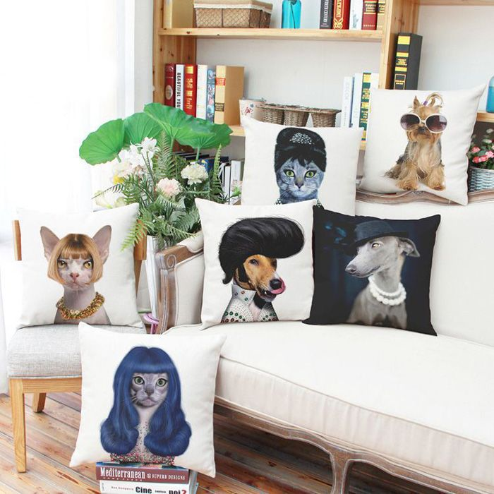 Fashion Sunglasses Puppy Pattern Square Shape Flax Pillow Case (Without Pillow Inner)