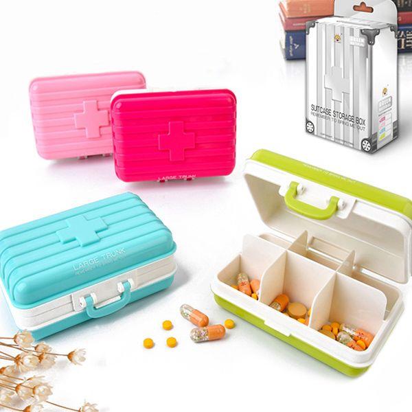 Hot Sale Portable Mini Luggage Shape Candy Color Sealed Medicine Storage Box