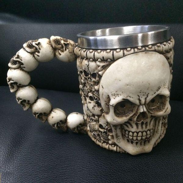 Novelty Horror Skull Drinkware 3D Knight Mug Stainless Steel Skull Decor Cup