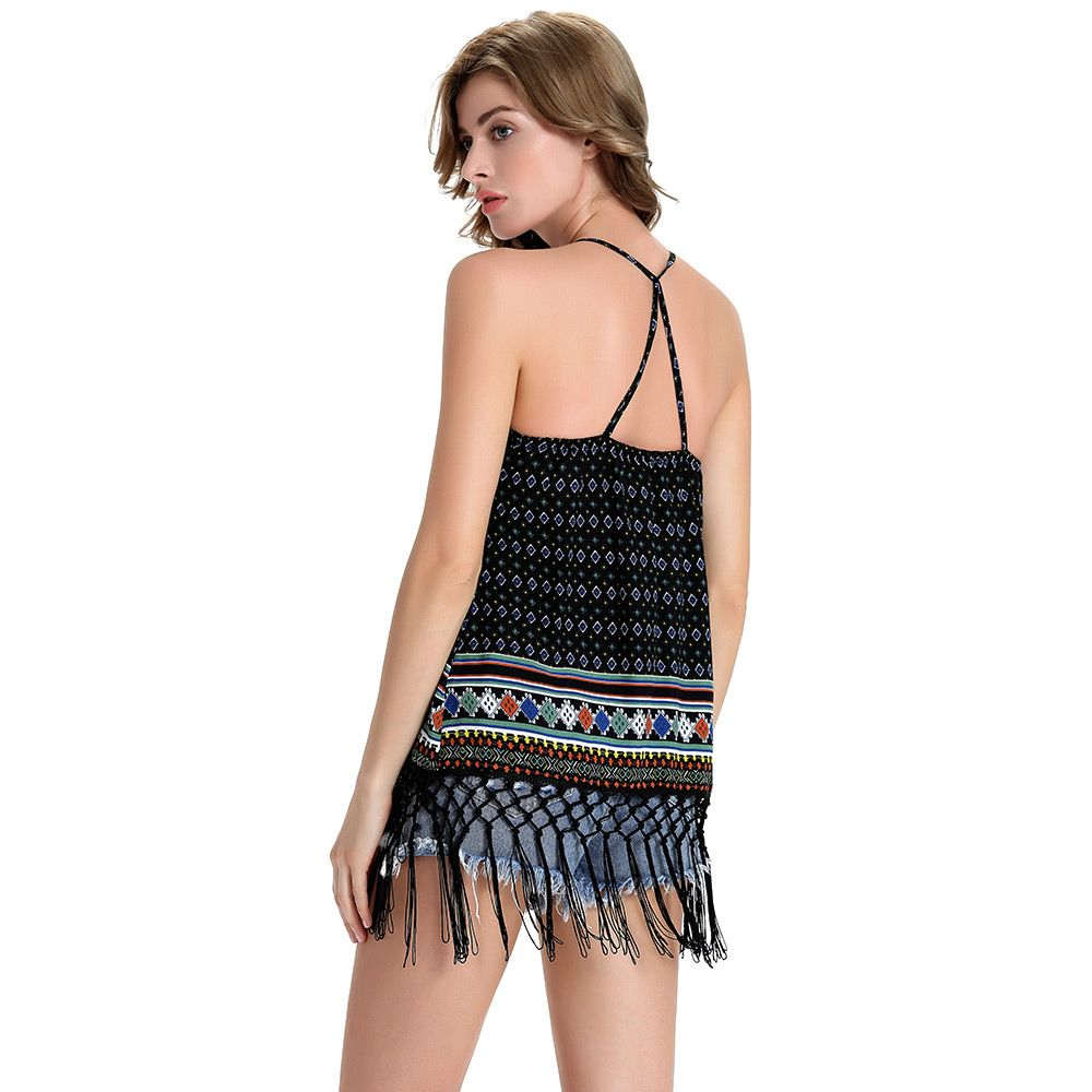 Strappy Tassels Printed Flowy Tank Top