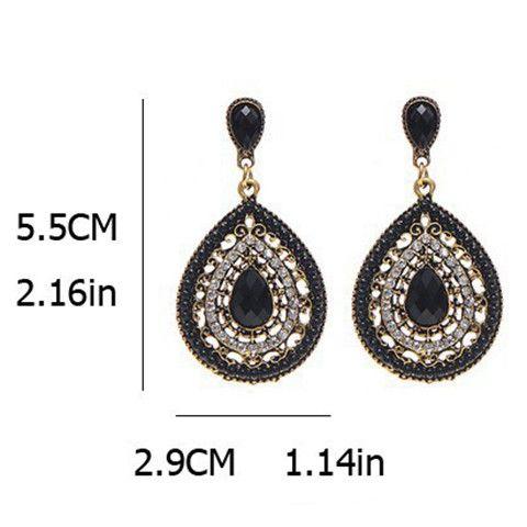 Pair of Ethnic Teardrop Faux Gem Beads Earrings