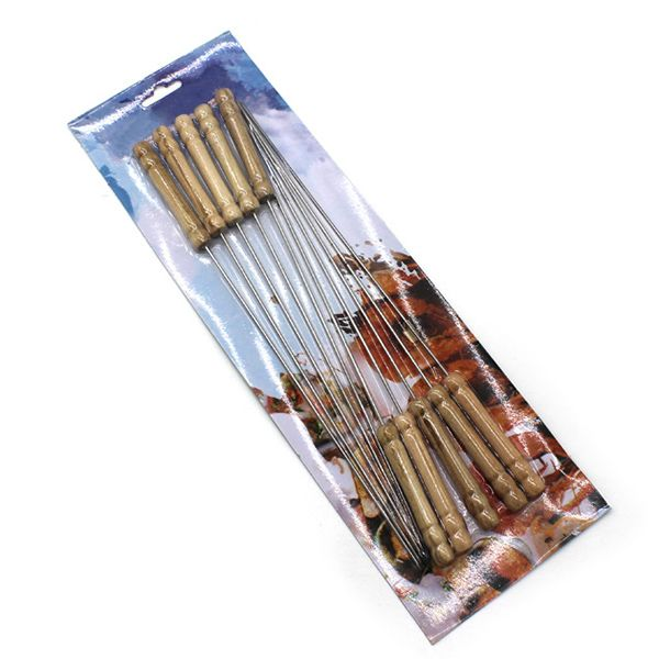 High Quality 10PCS Wooden Handle Stainless Steel Barbecue Needles