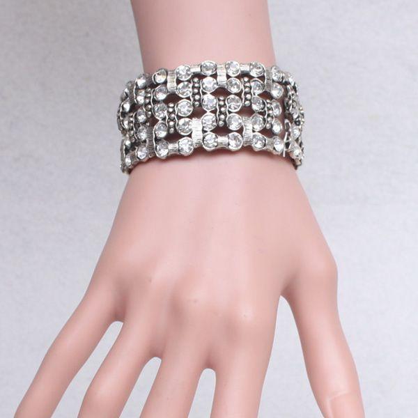Multilayered Rhinestone Alloy Bracelet