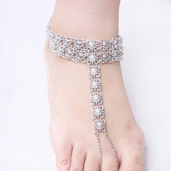 Vintage Engraved Floral Indian Toe Ring Anklet