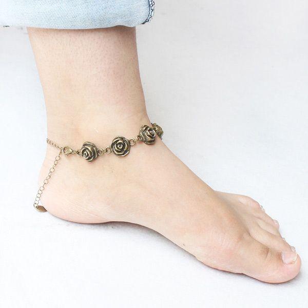 Vintage Rose Love Shape Flower Traditional Anklets