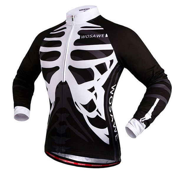 Stylish Skeleton Pattern Breathable Quick Dry Cycling Long Sleeve Jersey For Unisex