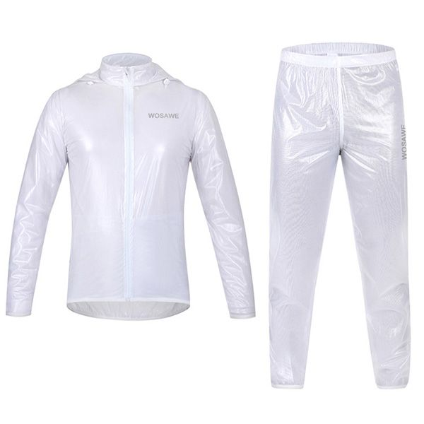 Simple Solid Color Windproof and Waterproof Cycling Jersey Raincoat Suits For Unisex