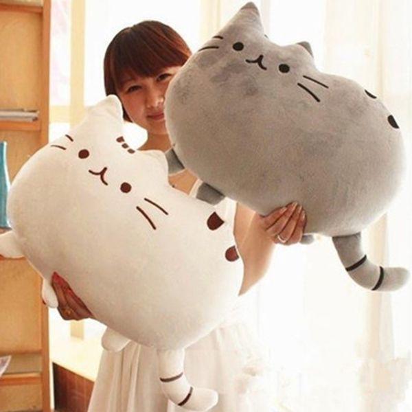Stylish Short Floss Cushion Cat Shape Design Pillow