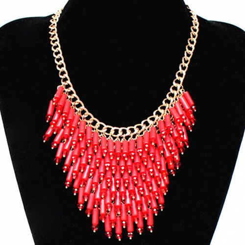 Bohemian Style Faux Gem Tassel Necklace