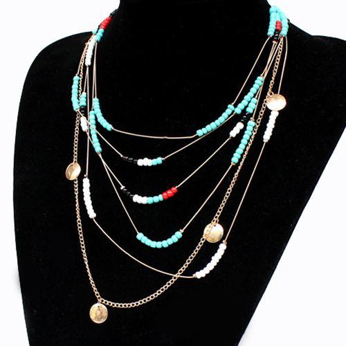 Bohemian Style Faux Turquoise Beads Necklace