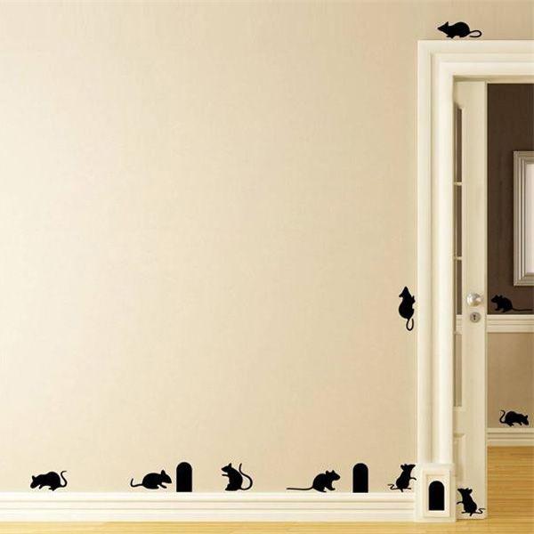 Novelty DIY Kindergarten Decoration Mouses Holes Design Wall Art Sticker