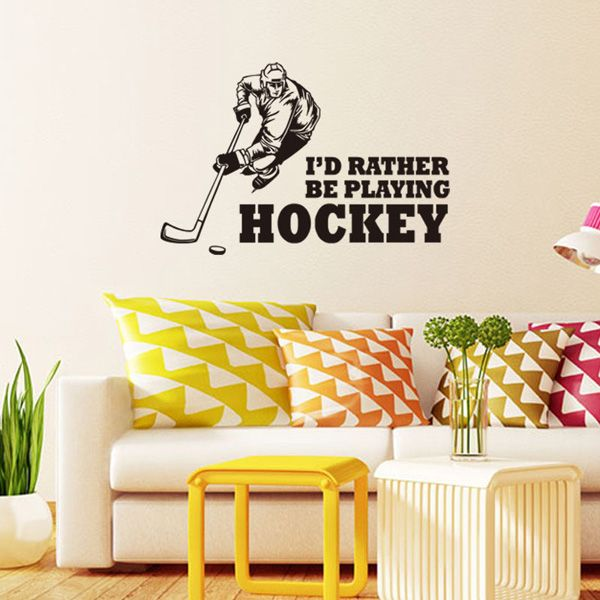 Creative Hockey Competition Sportsman Sports Wall Decals For Bedrooms